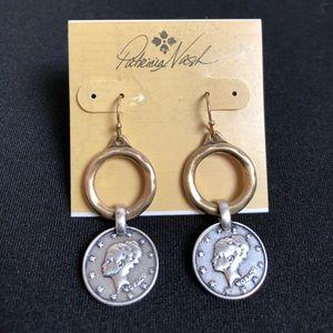 Patricia Nash earrings world coins drop NWT